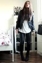 black boots boots - black Pimkie jacket - black H&M leggings - white Monki shirt
