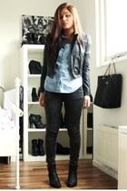 black Sixty Seven boots - dark gray Zara jeans - black H&M jacket - blue Mango s