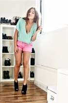black Topshop boots - aquamarine H&M shirt - bubble gum H&M shorts - aquamarine