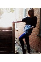 purple American Apparel tights - black Sparkle & Fade sweater