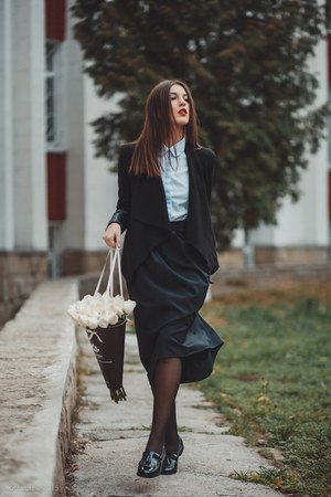 Sheinside blazer - Zara shirt - Alex Ciobanu skirt - Boohoo loafers