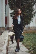 Sheinside blazer - Zara shirt - Alex Ciobanu skirt - Boohoo loafers