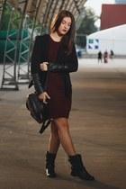 Bershka boots - Boohoo dress - Sheinside blazer - Maalex bag