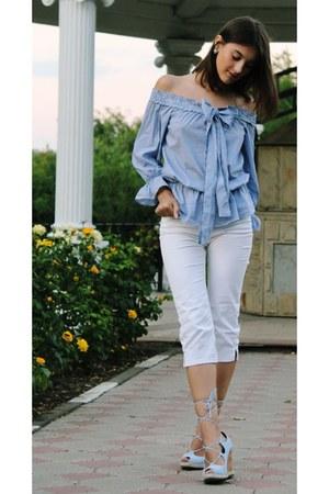 Sheinside blouse - Ralph Lauren jeans - AmiClubWear wedges