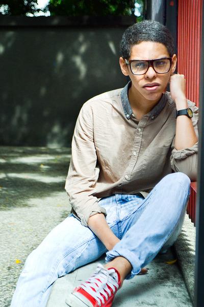 light blue Zara jeans - light brown Topman shirt - red Converse sneakers