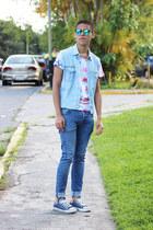 blue H&M jeans - aquamarine asos sunglasses - red Primark t-shirt