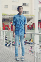 blue pull&bear shirt - light blue Topman jeans - black casio watch