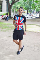black cotton the free banana shirt - black asos shorts - black casio watch