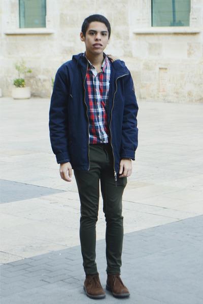 red Zara shirt - dark brown Hugo Boss boots - navy Springfield jacket