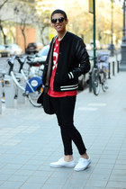 black asos jeans - black Zara jacket - black asos bag - black zeroUV sunglasses
