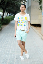 aquamarine Forever 21 shorts - white H&M t-shirt