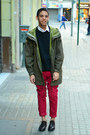 Dark-brown-shoes-olive-green-jacket-white-h-m-shirt-ruby-red-primark-pants