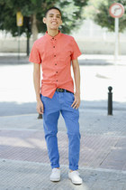 red Bershka shirt