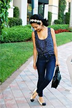 blue BDG jeans - black UO bag - navy Forever21 blouse - cream Anthropologie acce