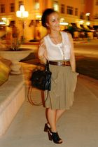white Urban Outfitters top - green Zara skirt - black Lucky Brand shoes - brown