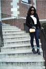 Woven-boots-navy-high-rise-bdg-jeans-black-forever21-sweater-white-shirt