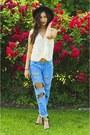 Black-zara-shoes-black-hat-sky-blue-forever-21-pants-beige-blouse