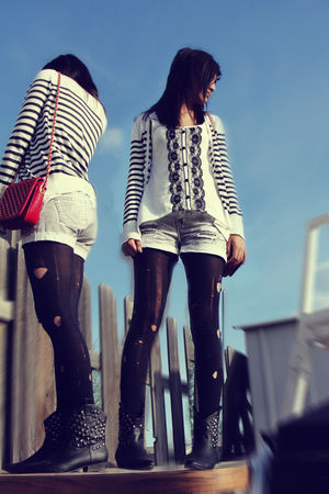oldnavy cardigan - silver shorts - black leggings - black Forever21 boots - red