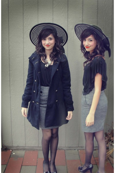black Target jacket - Target blouse - Forever 21 skirt - unknown brand hat - Mad