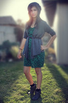 green Target dress - gray  boots - gray cardigan