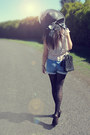 Black-vintage-hat-black-forever21-tights-black-chanel-bag-sky-blue-shorts-