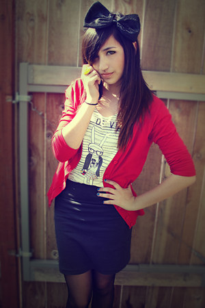 cream Forever21 shirt - red Love Culture cardigan - gray Forever21 skirt