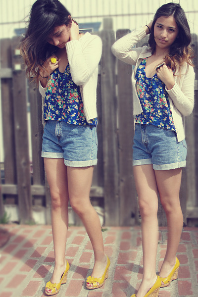 light blue shorts - yellow wedges - blue blouse - light pink cardigan