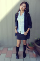 blue Forever21 blazer - gray Forever21 skirt - black Forever21 socks