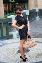 gold terner watch - black Jellybean shoes - black H&M dress