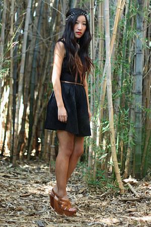 black ask grace dress - burnt orange garren Dolce Vita wedges