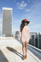 light pink thrifted from Crossroads dress - tawny Urban Outfitters hat