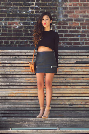 black Zara skirt - black Zara top - neutral Dailylook sandals