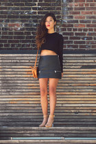 black Zara skirt - black Zara top - neutral Dailylook sandals