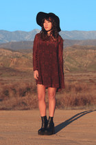 black mulder Jeffrey Campbell boots - brick red Urban Outfitters dress