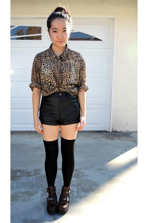 leather shorts - coltrane Jeffrey Campbell boots - thigh high socks