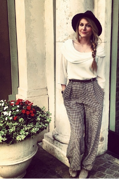 dark green Vintage Ralph Lauren pants - white vintage top shirt
