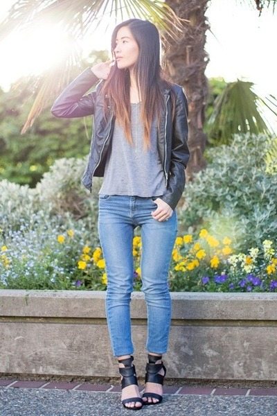 black Vero Moda jacket - blue Zara jeans - heather gray H&M t-shirt