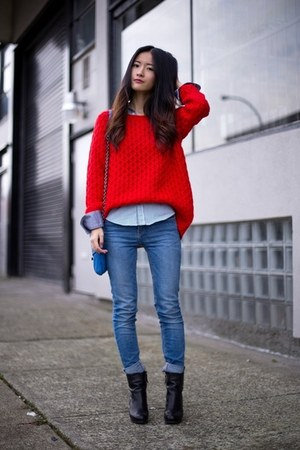 black Nine West boots - blue Zara jeans - red H&M sweater - silver Zara shirt
