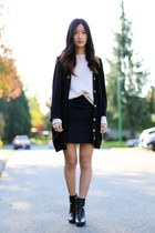black H&M skirt - black Nine West boots - black Zara coat - white Gap sweater