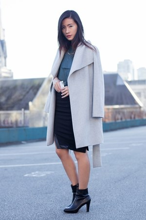 black Klarra skirt - silver Mango coat - teal Klarra top