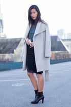 black Klarra skirt - silver Mango coat - teal Klarra top