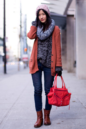 burnt orange Forever 21 cardigan - brown Frye boots - navy Levis jeans