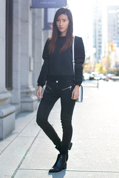 black Missguided sweater - black Helmut Lang boots