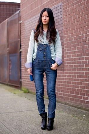 light blue orb clothing sweater - black Nine West boots - gray Zara shirt