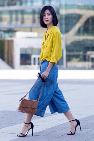 blue unknown pants - yellow Zara shirt