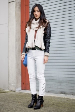 black Vero Moda jacket - black Nine West boots - white Zara jeans