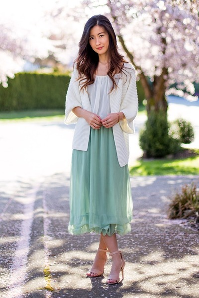 aquamarine vintage dress - white Choies cardigan - nude Nine West sandals