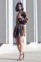 dark khaki H&M jacket - black stuart weitzman heels