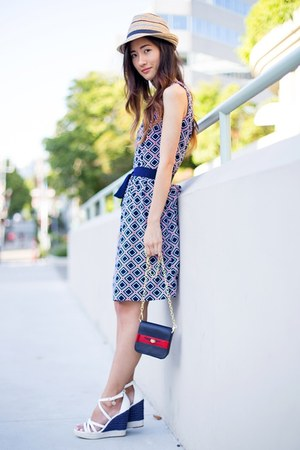 blue Tommy Hilfiger dress - tan Tommy Hilfiger hat - blue Tommy Hilfiger bag