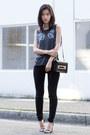 Black-frame-jeans-black-chaser-top